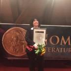"""1. Preis, für Maria W. Peter, mit i hrem Roman """" Die Festung am Rhein"""" , im Oktober in Ingolstadt, wo ich als Jurymitglied teilnehmen durfte."""
